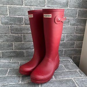 Hunter Girls Tall Red Rain Boots 5